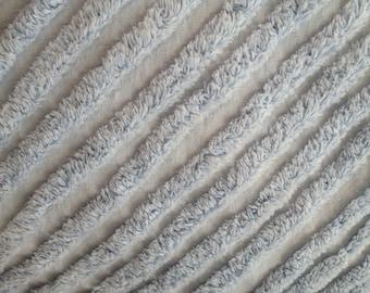 "Blue Plush Lines Vintage Chenille Bedspread Fabric Piece...20 x 24"""