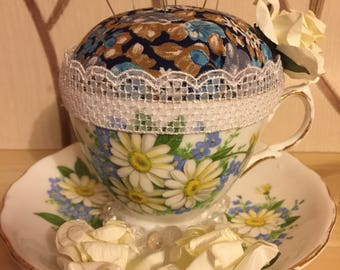 Vintage cup and saucer pin cushion