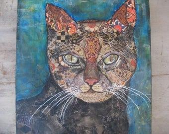 Cat Collage Original Artwork Feline Art Mixed Media Tribal Exotic Cat Lovers Gift