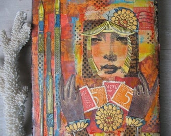 Woman Collage Art Woman's Face Abstract Postage Stamp Artwork Beautiful Stamp Collector Lady Writing Letters Original Art