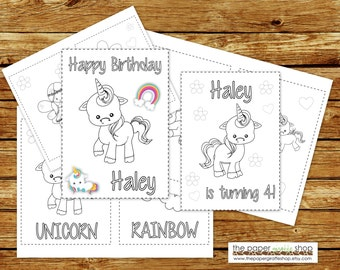 Unicorn Coloring Book Printable | Personalized Unicorn Birthday Party Coloring Book | Coloring Book Party Favor | Personalized PDF