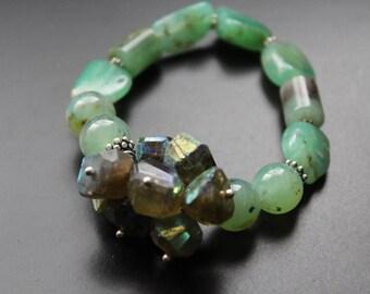 SALE Originally 132.00 Now 99.00 - Chrysoprase and AB grossular garnet gemstone bracelet, Bali sterling boho iridescent green garnet