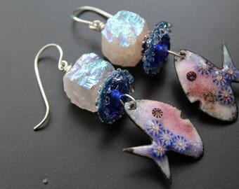 Dory fish earrings artisan enamel fish earrings AB rose quartz gemstone earrings artisan lampwork earrings long sterling whimsical earrings