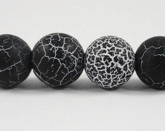 """Black Frosted Agate Beads 10mm Round Agate Beads, Matte Agate Stone Beads, Black Fire Agate Gemstone Beads on a 7"""" Strand with 19 Beads"""