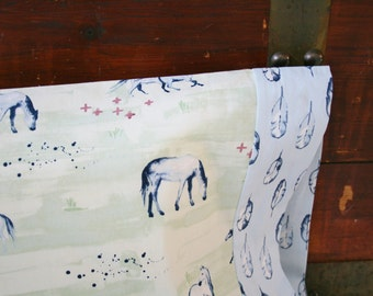Organic Toddler Pillowcase, Organic Travel Pillowcase, Wanderlust, Horses, Feathers