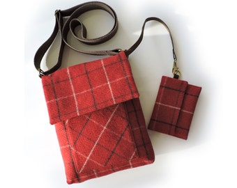 Tweed messenger bag with anti theft purse. Cross body bag and wallet. iPad bag. Shoulder bag. Satchel