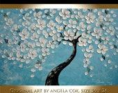 Sale Original Modern White Flowers Tree Blue  Fine Art   Impasto Palette Knife Painting .