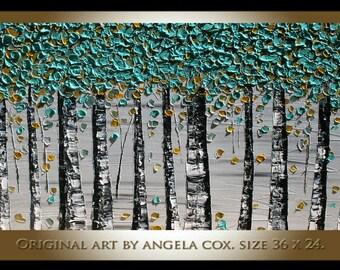 Original  Mint Mustard  Trees   GLandscape Fine Art Impasto  Painting. Size 36 x 24