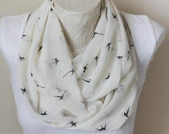 Bird Scarf, Swallow Infinity Scarf, Spring Scarf, Gift for Her, Mother's Day Gift