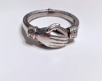 Vintage Art Deco Fede Gimmel clasped hands ring articulated joint sterling silver Samuel Kalina