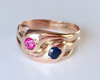 Antique Victorian entwined double snake ring 14k rose gold with ruby and sapphire gem set heads