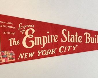 Vintage 'The Empire State Building, New York City', New York Pennant