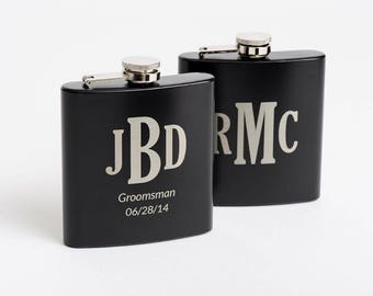 Personalized Groomsmen, Best Man Gift, Monogrammed Flasks, Engraved Black Hip Flasks, Monogram Flask, Flasks