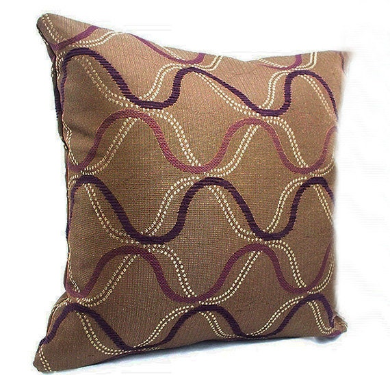 Brown and purple pillows Designer pillow covers Brown throw