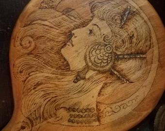 Antique Edwardian Victorian Pyrograhy Flemish Art Beveled Vanity Hand Mirror