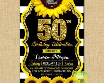50th Birthday Invitation, sunflower 50th birthday invitation, sunflower 50th birthday invitation, sunflower gold glitter 50th birthday invit