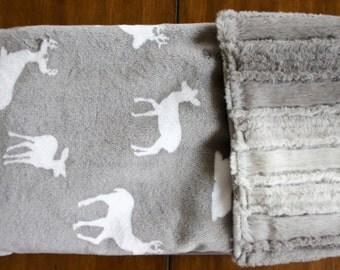 Minky Baby Blanket - Deer to Me Graphite Minky - Double Sided Minky Blanket