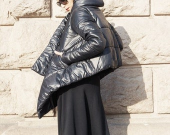 NEW Winter Warm Asymmetric Extravagant Black Coat / Waterproof Windproof Quilted Hooded Coat Side Pockes by Aakasha A07554