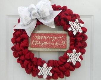 Christmas wreath Christmas burlap wreath Red Christmas burlap wreath Holiday wreath Holiday decor Red Holiday wreath Snowflake wreath RTS