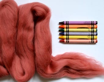 MERINO WOOL ROVING / Desert Coral 1 ounce /  needle felting / wet felting / nuno felting / spinning / photography props / pink merino tops
