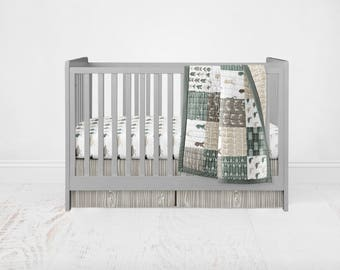 Woodland Duck & Buck Crib Bedding Set - Woodland Deer and Duck Patchwork Wholecloth Crib Quilt Fitted Sheet Crib Skirt