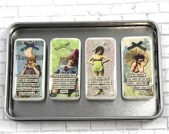 Vintage Ladies Magnet Set, Sarcastic Ladies, Domino Magnets, Magnet Set, Gift Set, Funny Magnets, Sarcastic Quotes