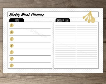 Weekly Meal Planner • Black White Gold • Matching Recipe Cards • Stripes and polka dots / printable