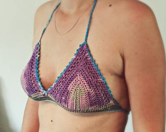 Purple Colorful CROCHET Bikini Top - halter top - Sexy festival top in grey, blue, pink - erotic lingerie