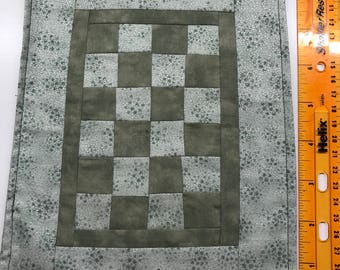 Green Stars Silver Shimmer Shabby Chic Themed Dollhouse Double Quilt