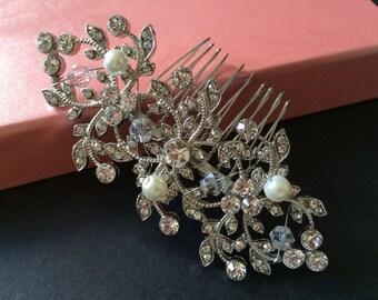 Victorian sparkle rhinestones crystals wedding bridal bridesmaids flower girls hair comb, wedding comb, bridal headpiece, bridesmaids comb
