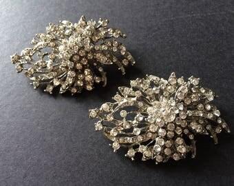 Romantic shaped wedding Swarovski rhinestone crystal bridal bridesmaids round shoes clips, dance shoe clips, crystals shoe clips