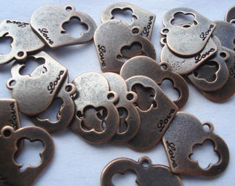 20mm Zinc Metal Alloy Charms, Antique Copper Flower Message Love Pendants, Pack of 20 Carved Hollow Charms, 10p Each!! C25
