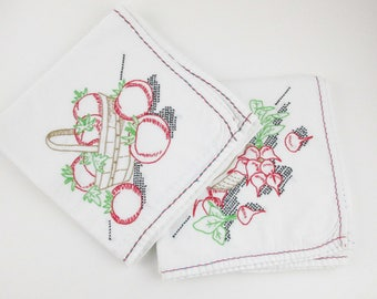 Tomatoes OR Radishes - Large White Cotton Muslin Dish Towels - Super Absorbant - Embroidered - Kitchen - Mix and Match - Wrap a Present