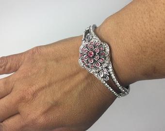Pink Flower Snap Interchangeable Bracelet