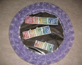 Fuzzy soft light purple rosebud swirls steering wheel cover