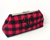 Monogrammed Buffalo Plaid Clutch
