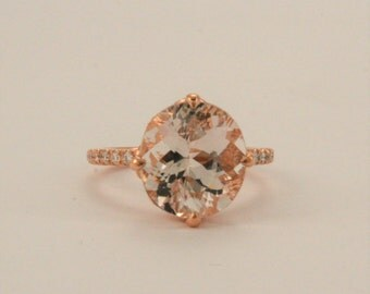 4.71 Cts. Oval Cut Morganite Solitaire Diamond Engagement Ring in 14K Rose Gold