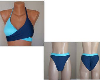 PADDED Light navy blue and blue wrap around bikini top and high cut scrunch butt bottoms-Swimsuit-Bathing suit-Choose your color-XS-S-M-L-XL