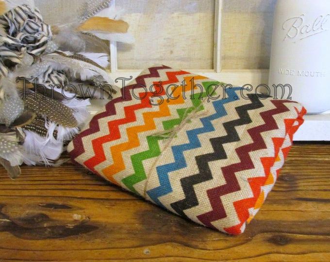 """Chevron Burlap Fabric, Bright Multi Color Chevron Burlap, 72"""" L x 47"""" W Multi Colored Chevron Print on Ecru Background Burlap"""