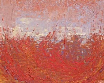 """Original Abstract Oil Painting,  """"Paper Field"""" , 9""""x12"""", by  John Kelley"""