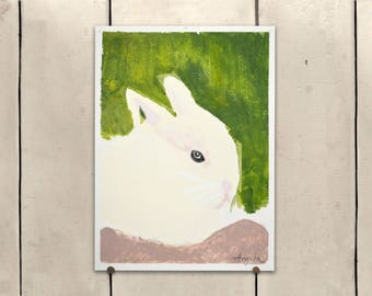 """White Rabbit Original Art 9x11.5"""" One of a Kind 100% of the profits go directly to artists with disabilities Item 85 Angela M."""