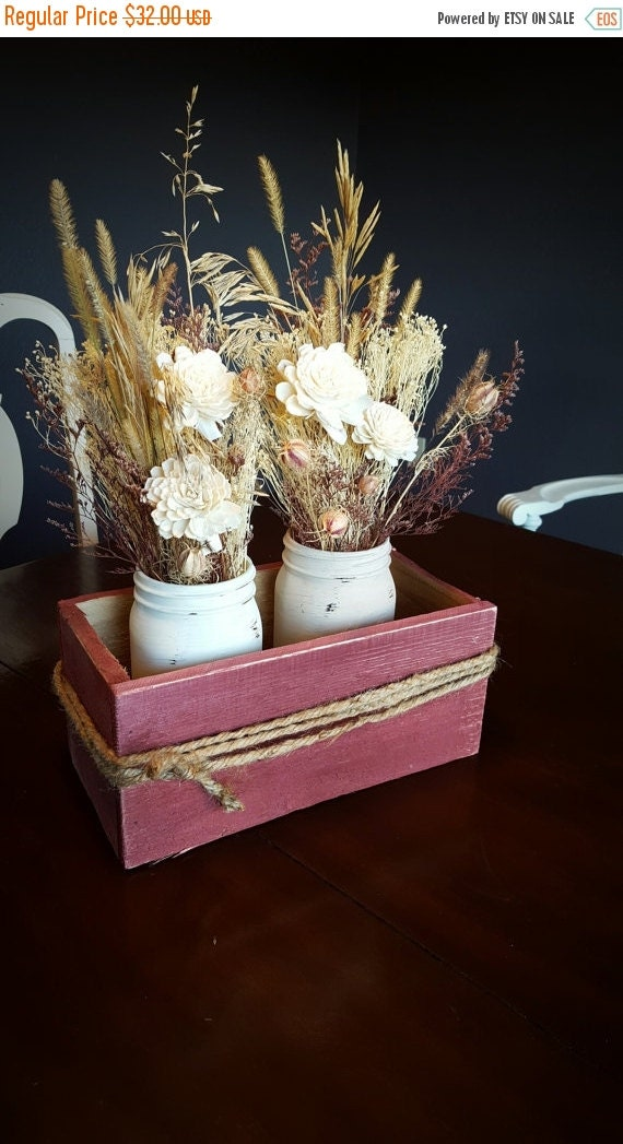 Sale burgundy box centerpiece ivory cream by stelladesignsshop
