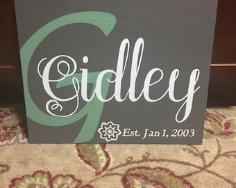 16x20 wooden name sign