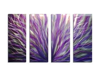 Metal Wall Art Abstract Sculpture Aluminum Modern Decor - Radiance Purple 36x63