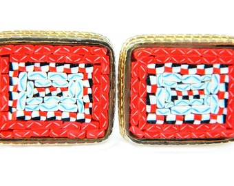 Red Micro Mosaic 10K Gold Cufflinks Vintage Swank Style Glass Tile Accessory For Men or Women 10K Gold Overlay Large Statement Vibrant Red