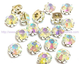 Sew On Rhinestones round glass Crystal AB size in 10mm 8mm 7mm 6mm 5mm Rainbow color silver setting