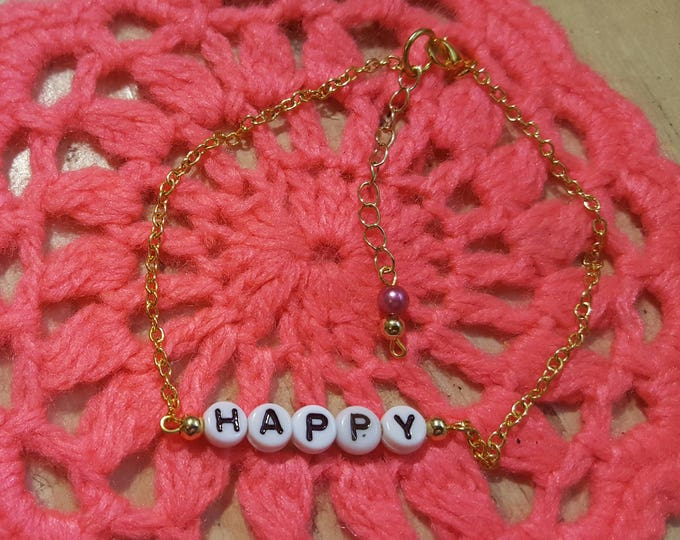 New Handmade Letter Ankle Bracelet- Happy- Gold Plated Beads Chain