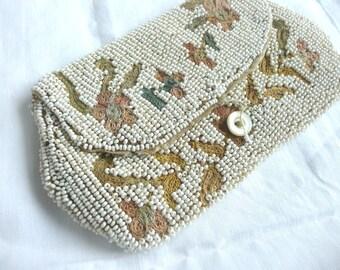 Antique bead purse - vintage wedding purse - 1920s beaded purse - antique hand beaded purse - Point de Beauvais bead purse