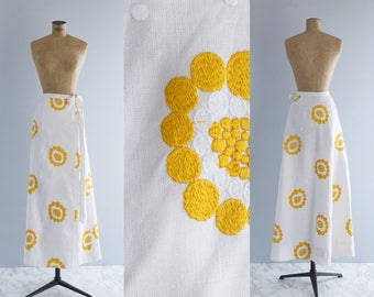 Vintage 1960s Embroidered Maxi Skirt - White Cotton, 60s Look - Costa del Sol Skirt
