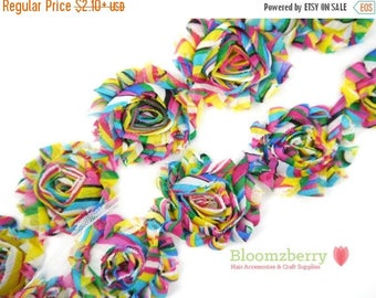 """Closed Out Sale 40% OFF 2.5"""" Printed Shabby Rose Trim- Rainbow - Chiffon Trim - Rainbow Shabby Rose Trim - Hair Accessories Supplies"""